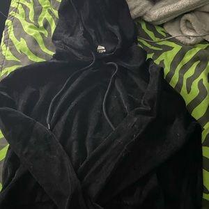 Black fuzzy crop top hoodie